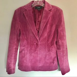 Alfani Womens Leather Blazer Rose Pink Sz Small